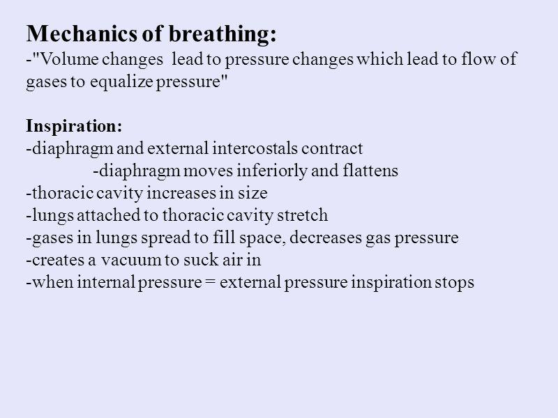 Mechanics of breathing: -