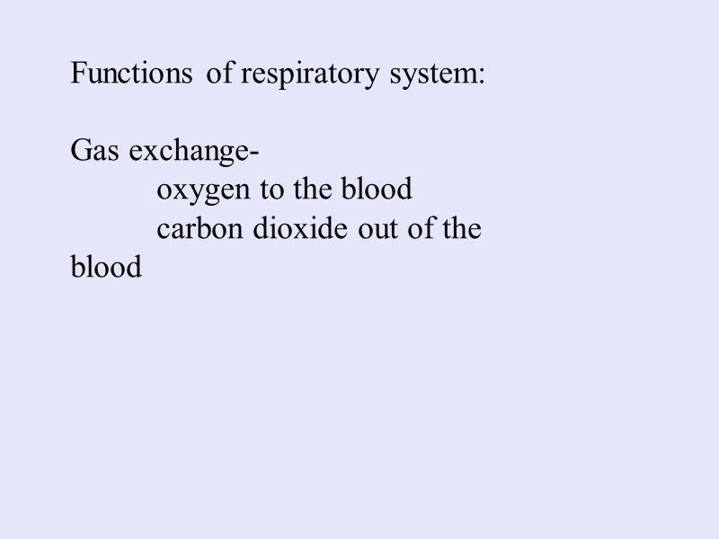 Functions of respiratory system: Gas exchange- oxygen to the blood carbon dioxide out of the blood