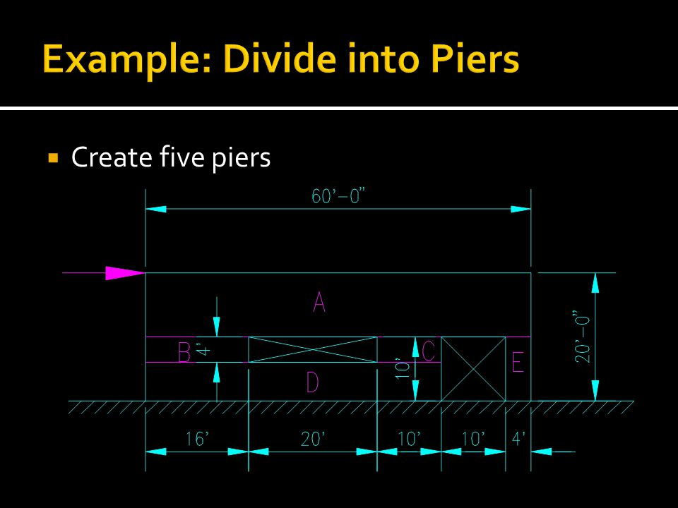 Create five piers