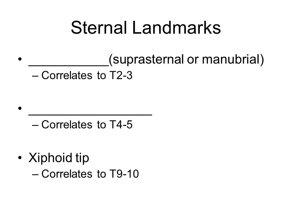 Sternal Landmarks ___________(suprasternal or manubrial) –Correlates to T2-3 _________________ –Correlates to T4-5 Xiphoid tip –Correlates to T9-10