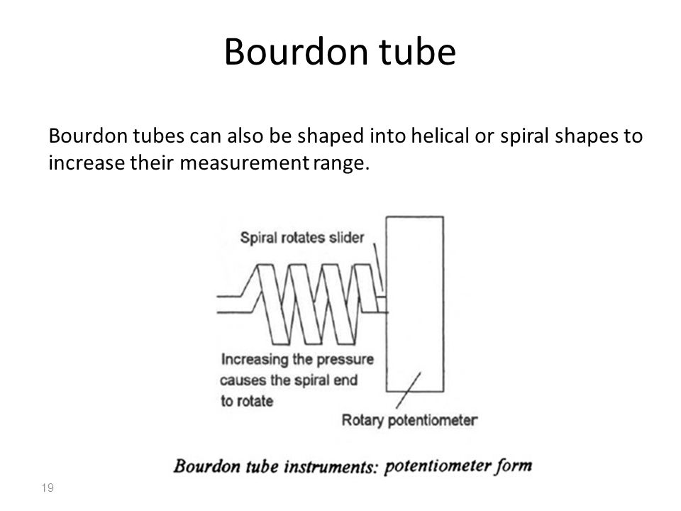 Bourdon tube Bourdon tubes can also be shaped into helical or spiral shapes to increase their measurement range. 19