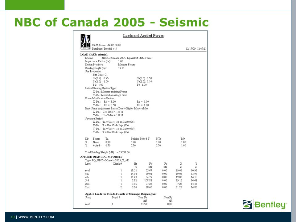 NBC of Canada 2005 - Seismic 18 | WWW.BENTLEY.COM