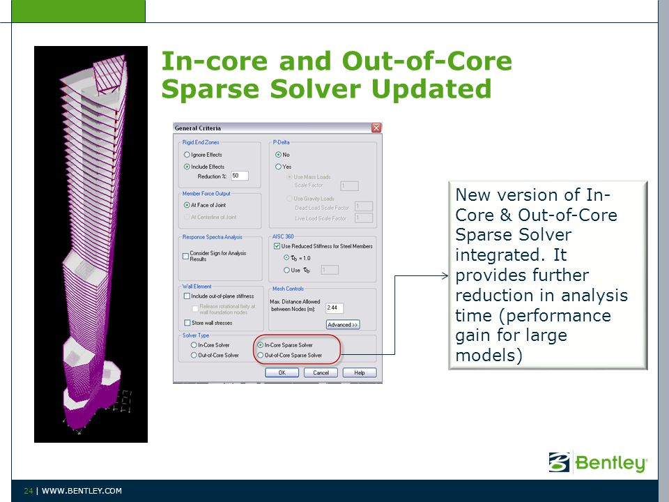 24 | WWW.BENTLEY.COM In-core and Out-of-Core Sparse Solver Updated New version of In- Core & Out-of-Core Sparse Solver integrated.