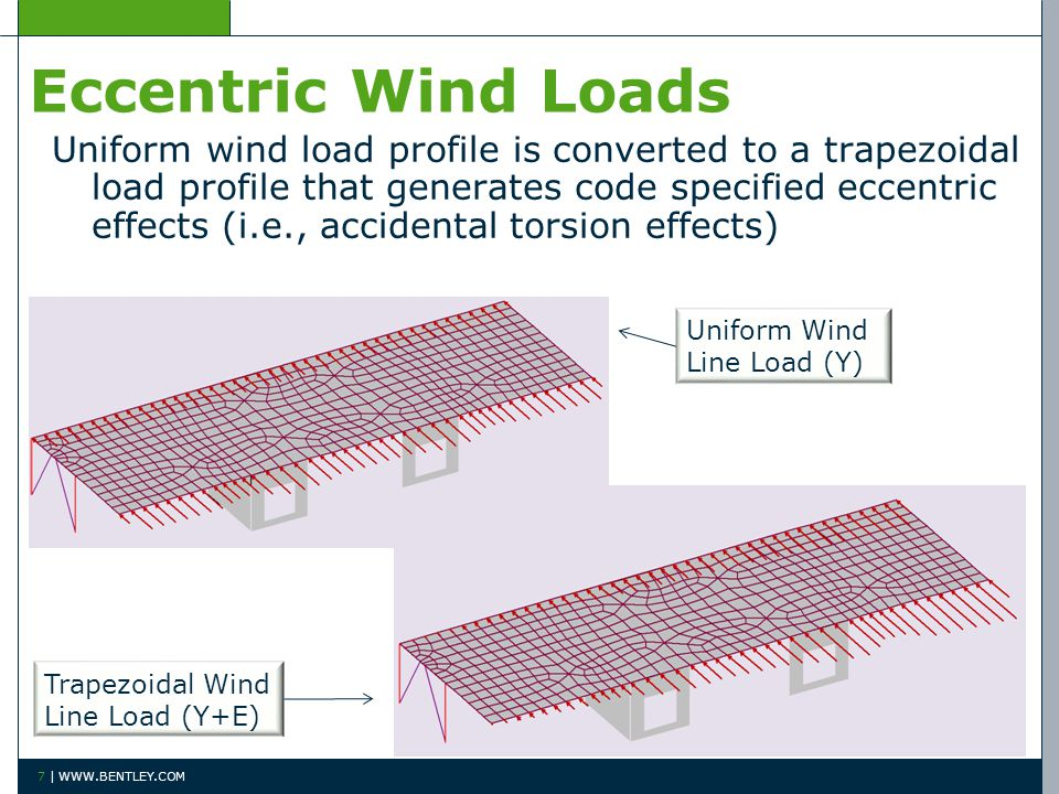 7 | WWW.BENTLEY.COM Eccentric Wind Loads Uniform wind load profile is converted to a trapezoidal load profile that generates code specified eccentric effects (i.e., accidental torsion effects) Uniform Wind Line Load (Y) Trapezoidal Wind Line Load (Y+E)