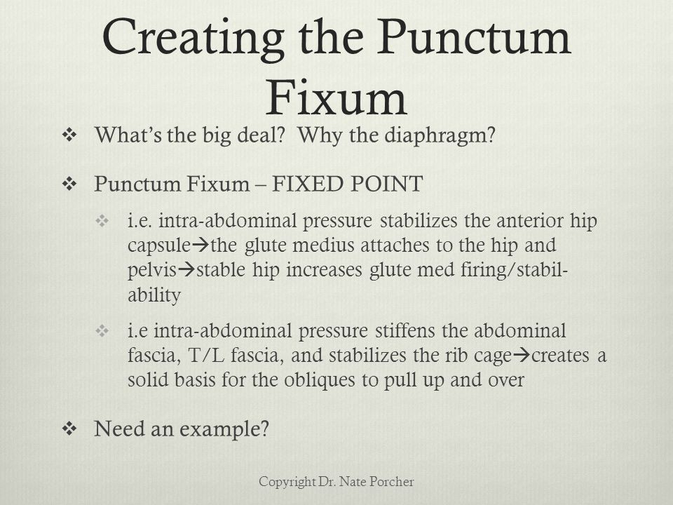Creating the Punctum Fixum  What's the big deal. Why the diaphragm.