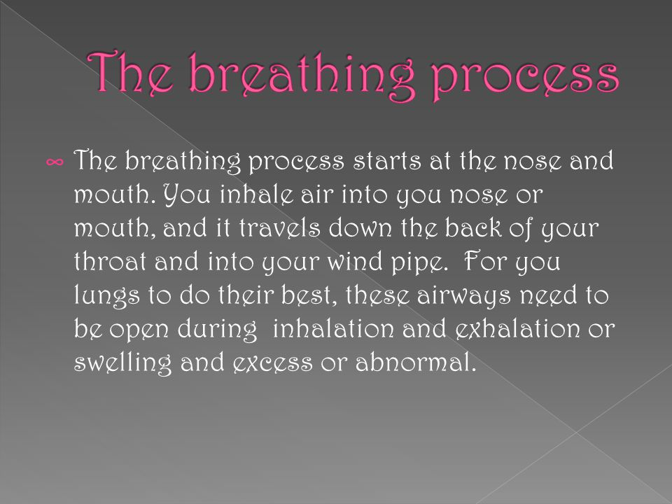 ∞ The breathing process starts at the nose and mouth.