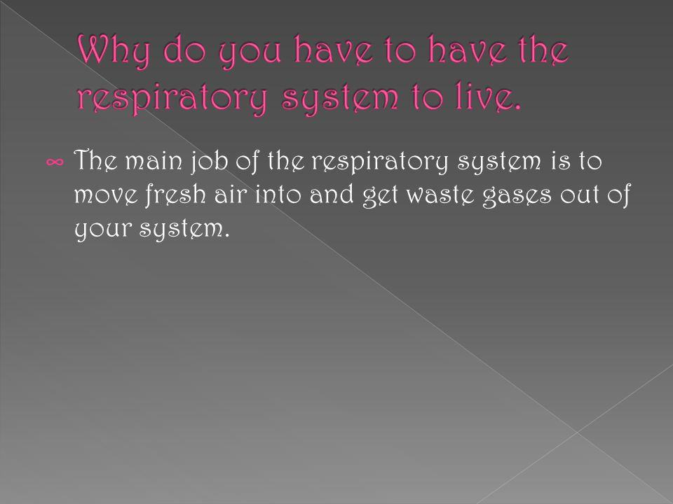 ∞ The main job of the respiratory system is to move fresh air into and get waste gases out of your system.