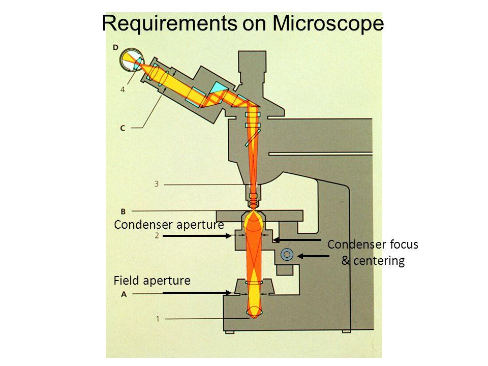 Field aperture Condenser aperture Condenser focus & centering Requirements on Microscope