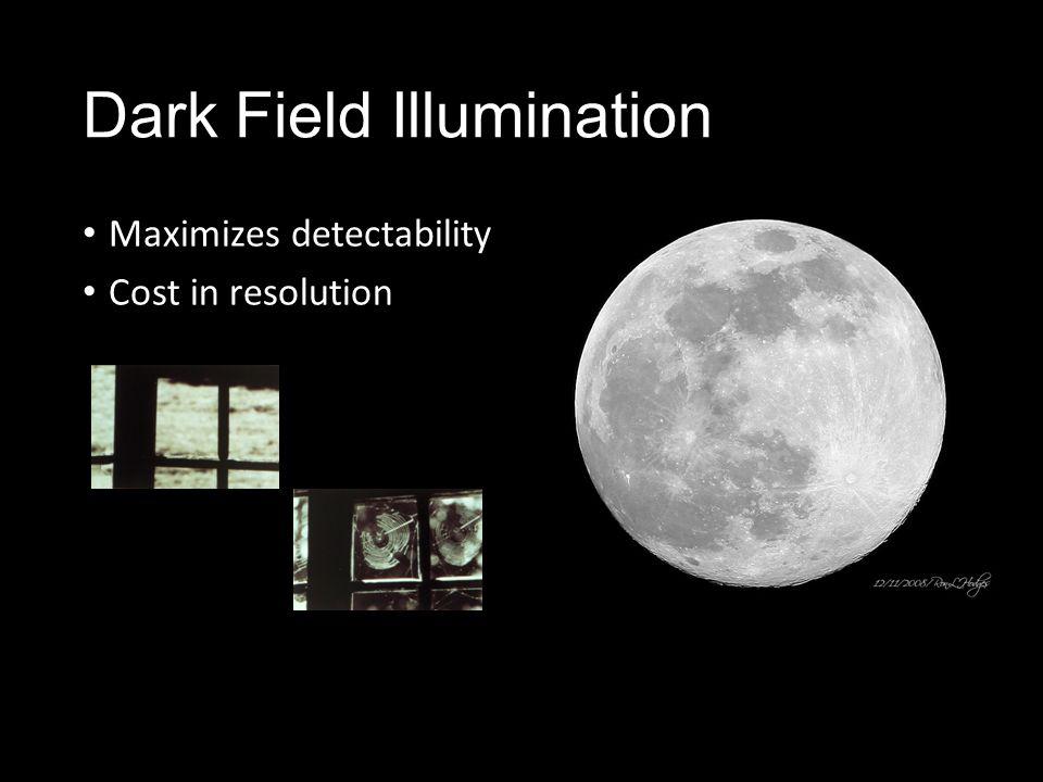 Dark Field Illumination Maximizes detectability Cost in resolution