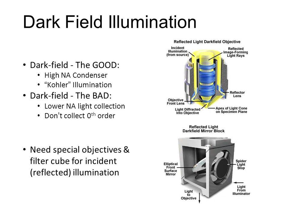 "Dark Field Illumination Dark-field - The GOOD: High NA Condenser ""Kohler"" Illumination Dark-field - The BAD: Lower NA light collection Don't collect 0"
