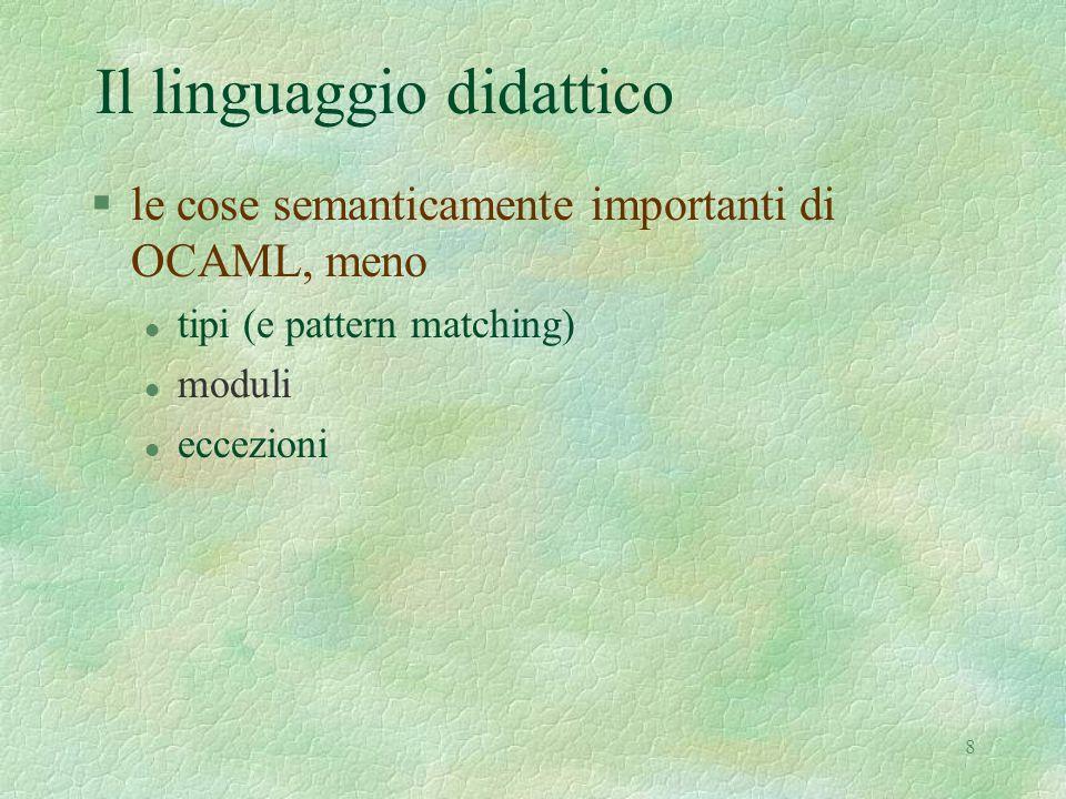 8 Il linguaggio didattico §le cose semanticamente importanti di OCAML, meno l tipi (e pattern matching) l moduli l eccezioni