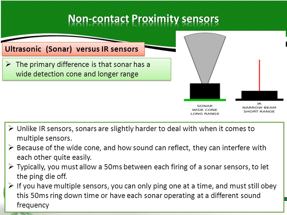 41  Unlike IR sensors, sonars are slightly harder to deal with when it comes to multiple sensors.