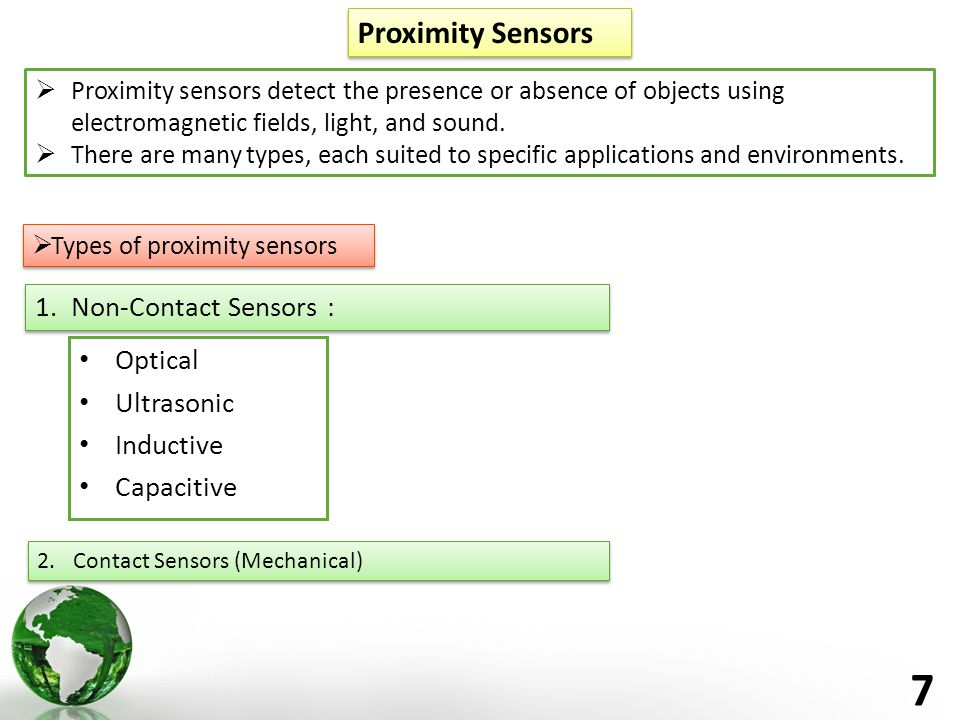 7 Proximity Sensors  Types of proximity sensors 1.Non-Contact Sensors : Optical Ultrasonic Inductive Capacitive  Proximity sensors detect the presence or absence of objects using electromagnetic fields, light, and sound.