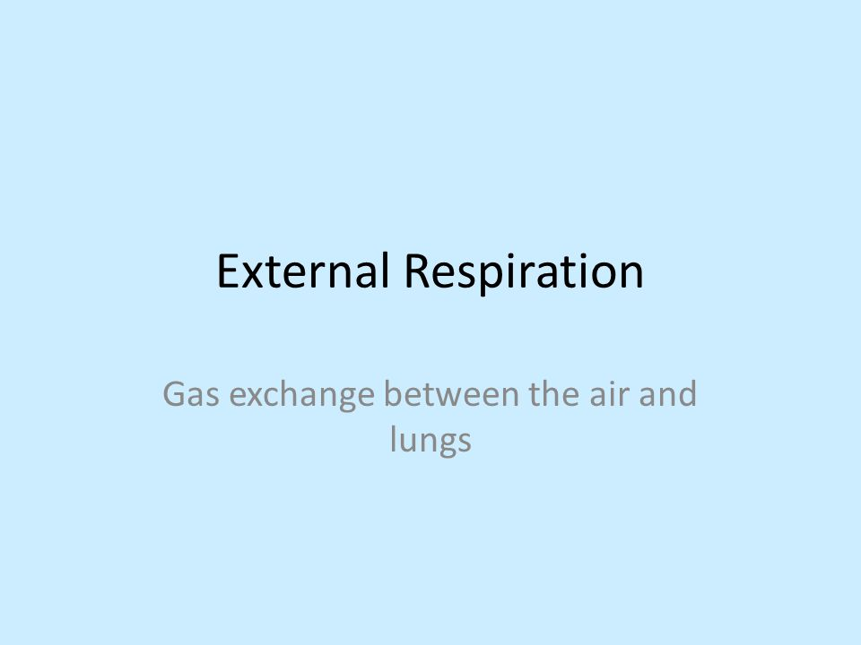 External Respiration Gas exchange between the air and lungs