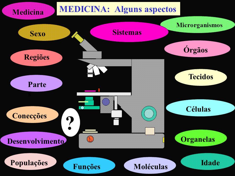 MEDICINA: Alguns aspectos Regiões Parte s ConecçõesDesenvolvimento Tecidos CélulasOrganelasMoléculasFunções Microrganismos Medicina IdadePopulações ?