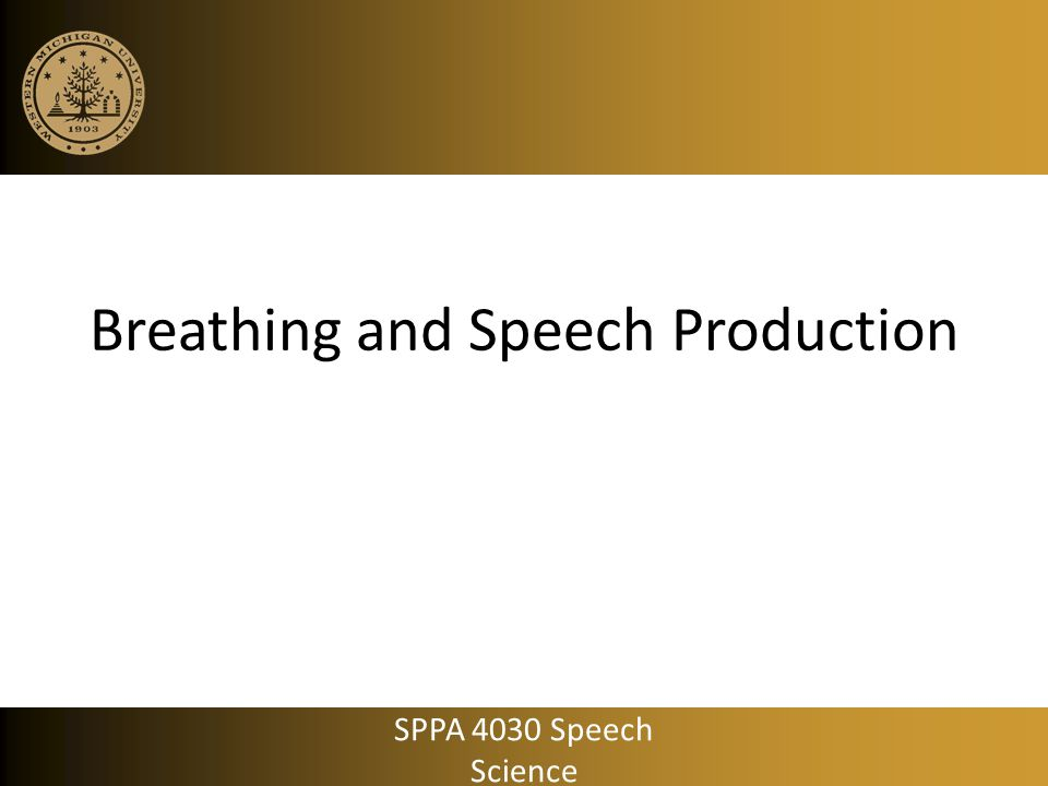Mechanical Ventilation Breaths are provided by a machine Speech breathing features  control over all aspects of breath support Length of inspiratory/expiratory phase Large, but inconsistent P trach Inspiration at linguistically inappropriate places Speech breathing often occurs on inspiration Treatment: speaking valves , ventilator adjustment, behavioral training SPPA 4030 Speech Science
