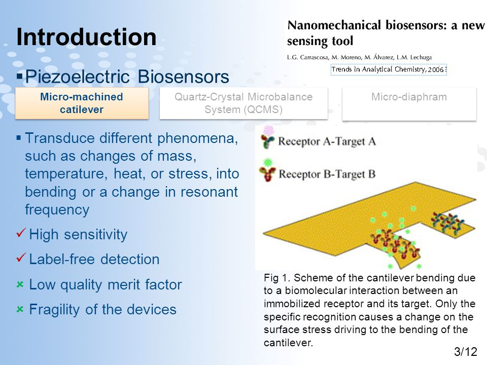 Introduction  Piezoelectric Biosensors  Transduce different phenomena, such as changes of mass, temperature, heat, or stress, into bending or a change in resonant frequency High sensitivity Label-free detection  Low quality merit factor  Fragility of the devices Micro-machined catilever Quartz-Crystal Microbalance System (QCMS) Micro-diaphram Fig 1.