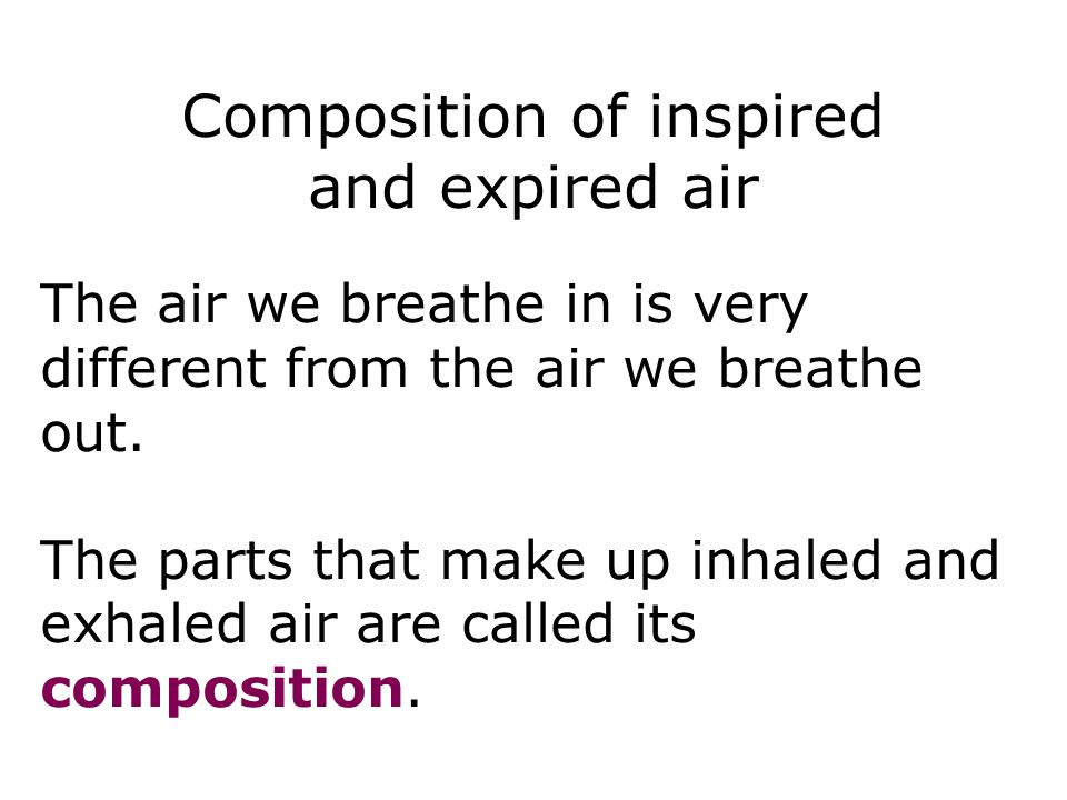Composition of inspired and expired air The air we breathe in is very different from the air we breathe out. The parts that make up inhaled and exhale