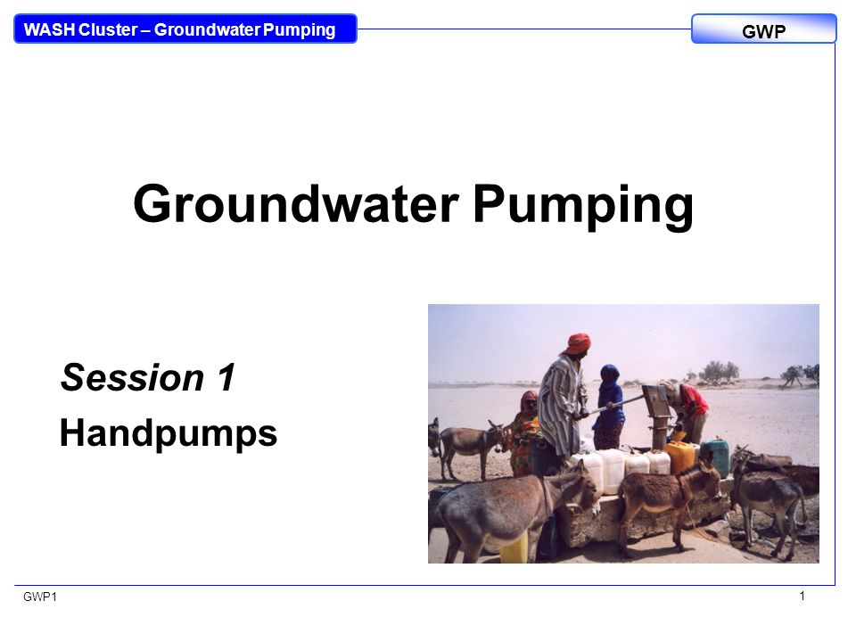 WASH Cluster – Groundwater Pumping GWP GWP1 1 Groundwater Pumping Session 1 Handpumps