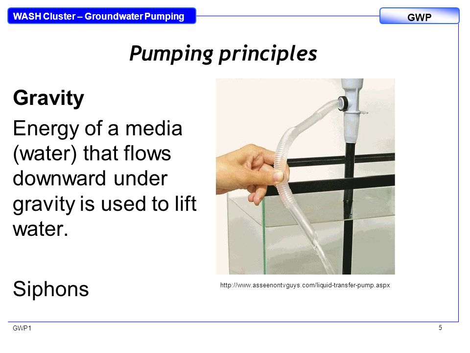 WASH Cluster – Groundwater Pumping GWP GWP1 5 Pumping principles Gravity Energy of a media (water) that flows downward under gravity is used to lift w
