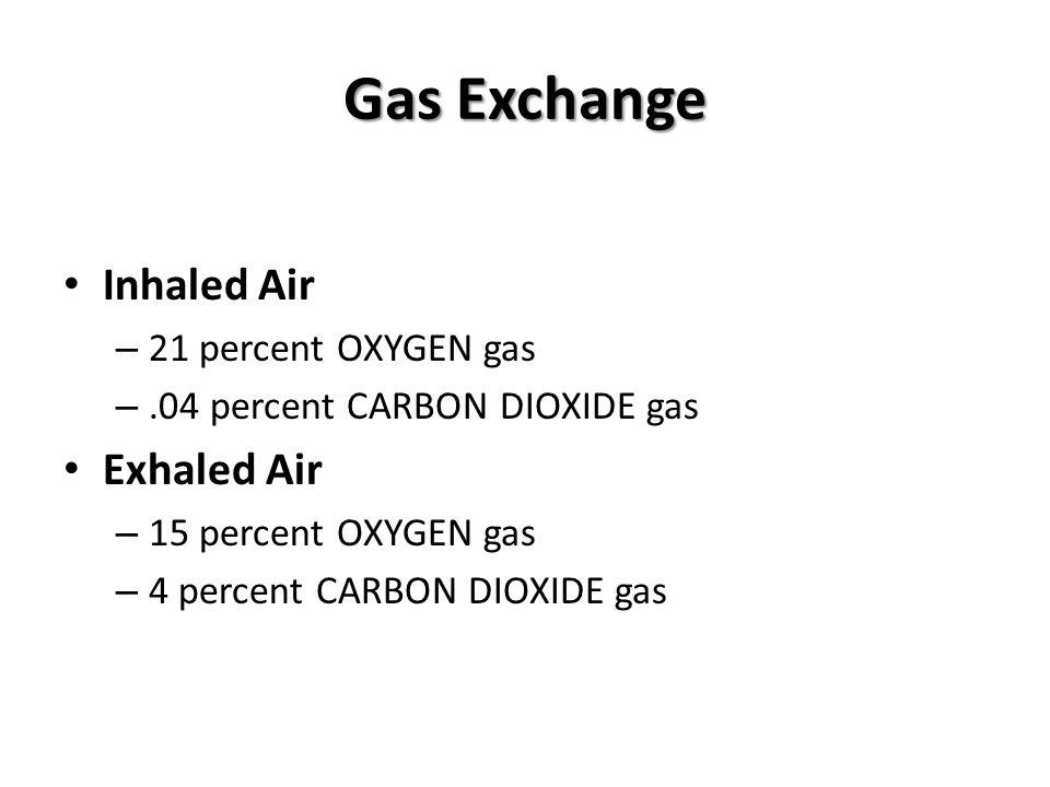 Gas Exchange Inhaled Air – 21 percent OXYGEN gas –.04 percent CARBON DIOXIDE gas Exhaled Air – 15 percent OXYGEN gas – 4 percent CARBON DIOXIDE gas