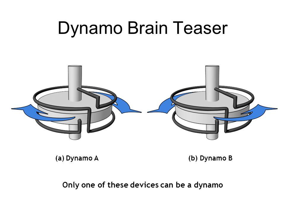 Dynamo Brain Teaser (a)Dynamo A(b) Dynamo B Only one of these devices can be a dynamo