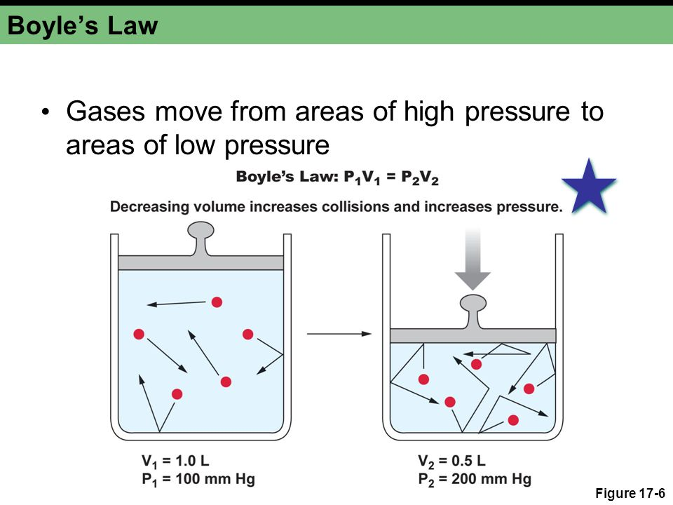 Figure 17-6 Boyle's Law Gases move from areas of high pressure to areas of low pressure