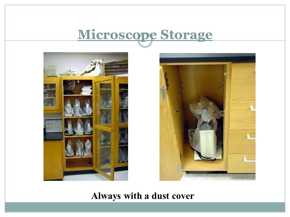 Microscope Storage Always with a dust cover