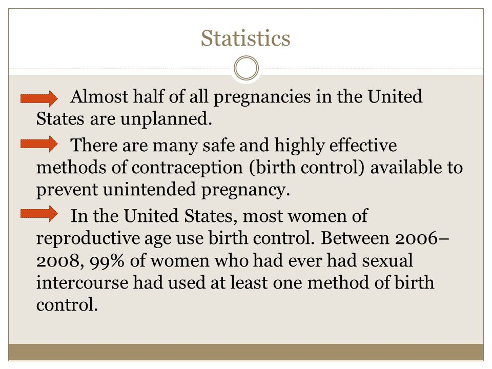 Statistics Almost half of all pregnancies in the United States are unplanned.