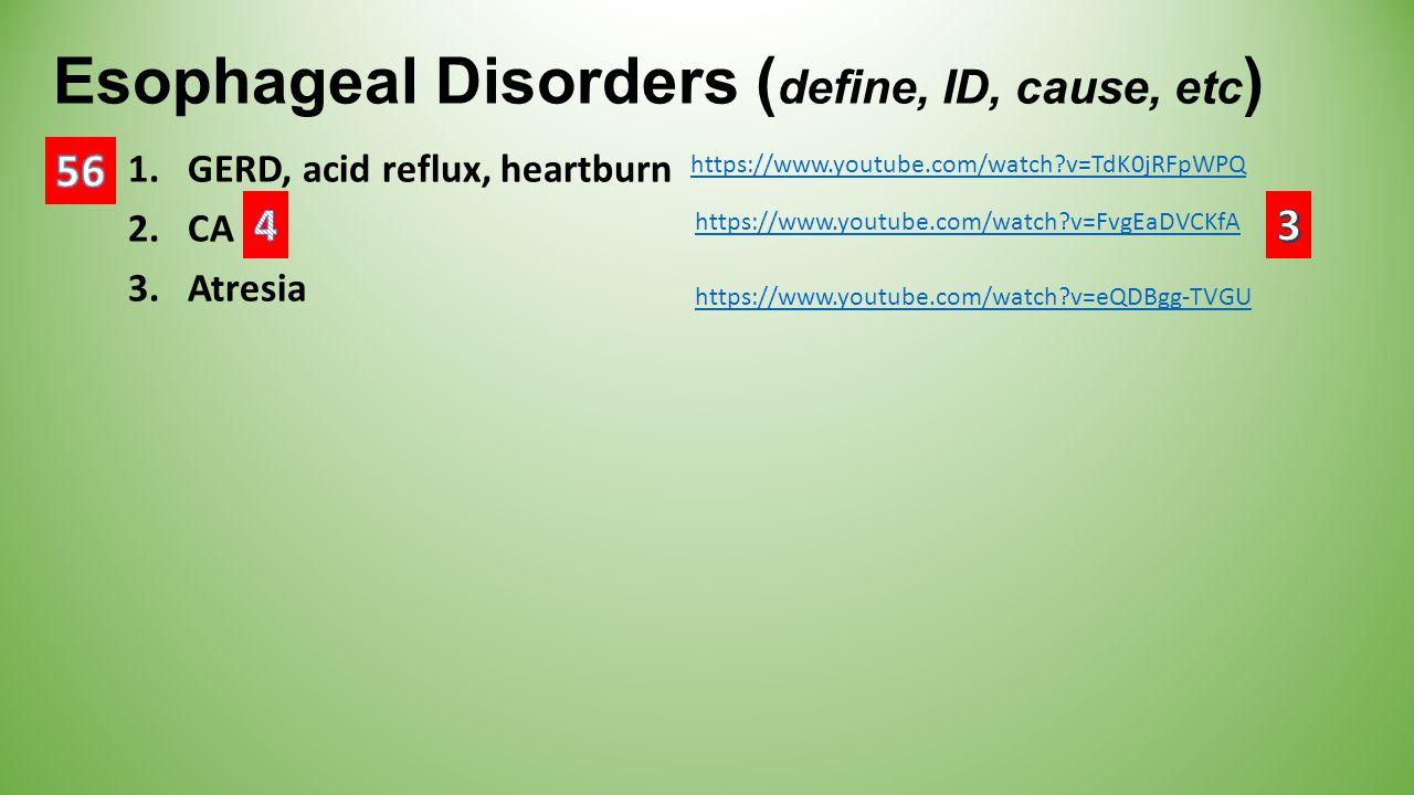 Esophageal Disorders ( define, ID, cause, etc ) 1.GERD, acid reflux, heartburn 2.CA 3.Atresia https://www.youtube.com/watch?v=eQDBgg-TVGU https://www.