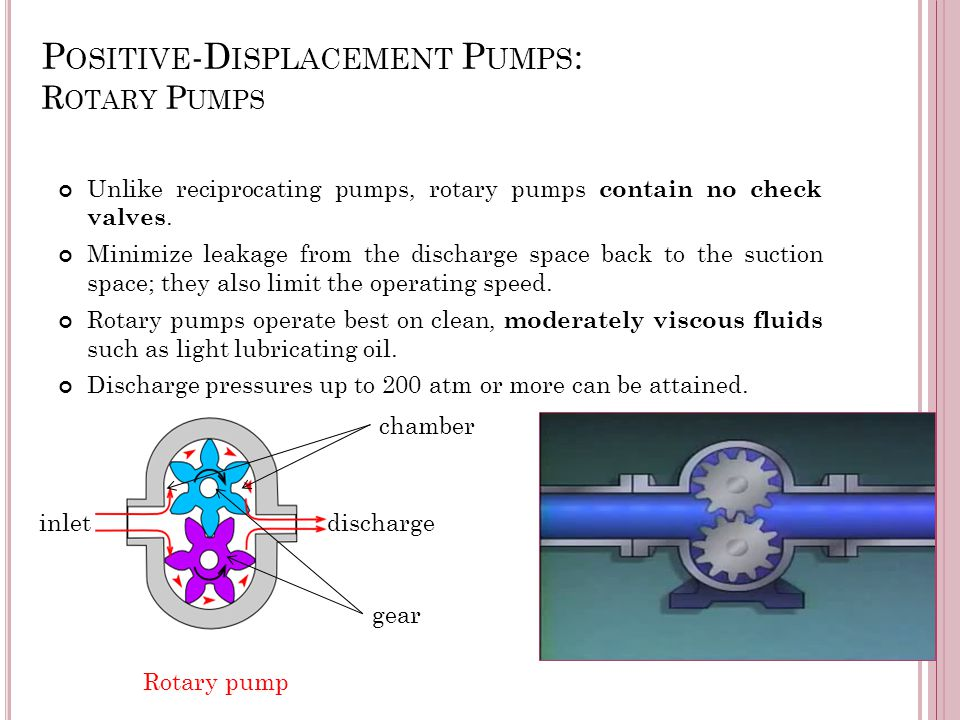 P OSITIVE -D ISPLACEMENT P UMPS : R OTARY P UMPS Unlike reciprocating pumps, rotary pumps contain no check valves. Minimize leakage from the discharge
