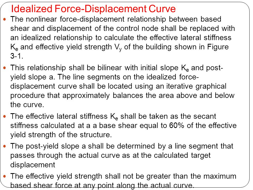 Idealized Force-Displacement Curve The nonlinear force-displacement relationship between based shear and displacement of the control node shall be rep