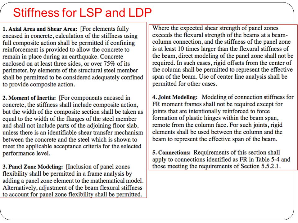 Stiffness for LSP and LDP