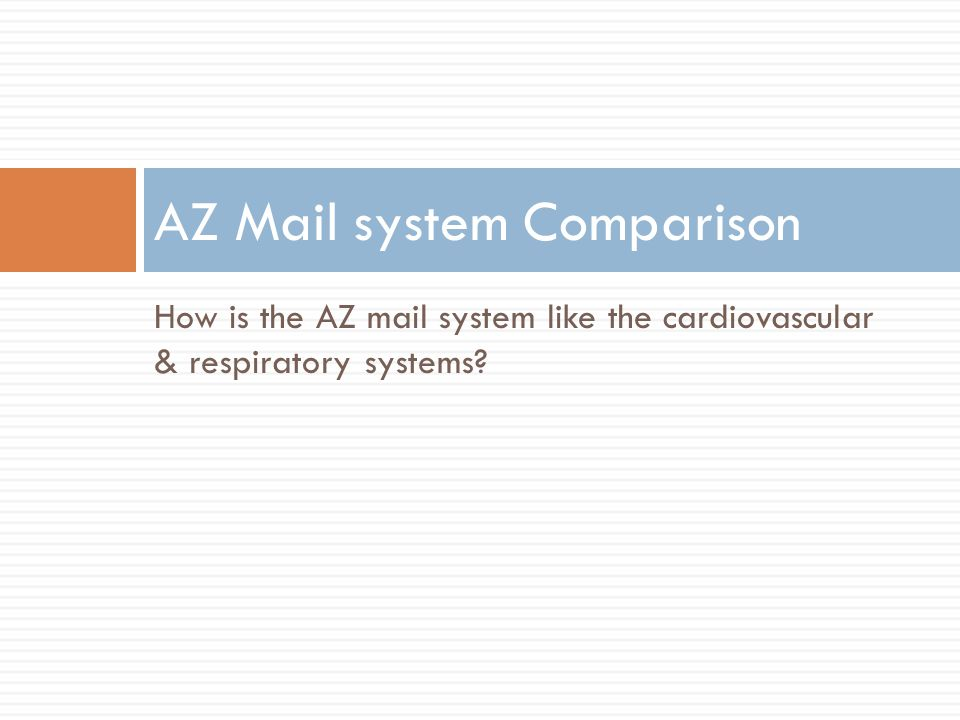 How is the AZ mail system like the cardiovascular & respiratory systems? AZ Mail system Comparison