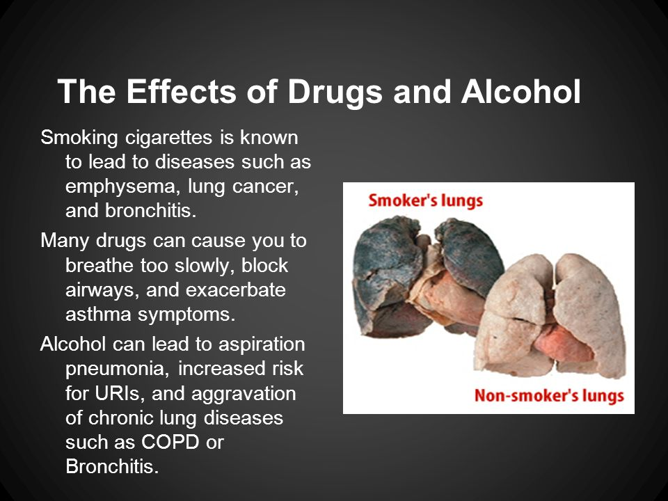 The Effects of Drugs and Alcohol Smoking cigarettes is known to lead to diseases such as emphysema, lung cancer, and bronchitis. Many drugs can cause