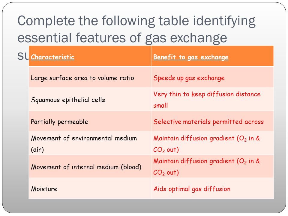 Complete the following table identifying essential features of gas exchange surfaces: CharacteristicBenefit to gas exchange Large surface area to volume ratioSpeeds up gas exchange Squamous epithelial cells Very thin to keep diffusion distance small Partially permeableSelective materials permitted across Movement of environmental medium (air) Maintain diffusion gradient (O 2 in & CO 2 out) Movement of internal medium (blood) Maintain diffusion gradient (O 2 in & CO 2 out) MoistureAids optimal gas diffusion