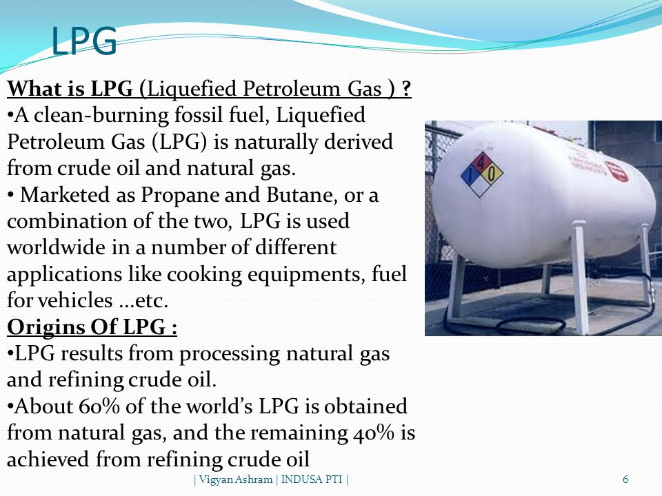 LPG | Vigyan Ashram | INDUSA PTI |6 What is LPG (Liquefied Petroleum Gas ) .