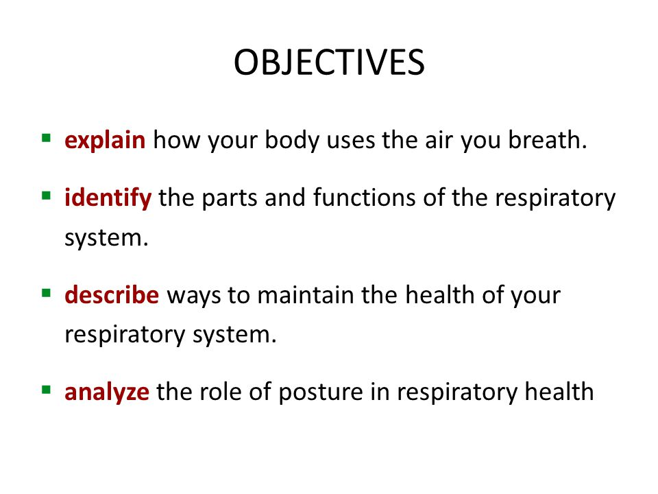 OBJECTIVES  explain how your body uses the air you breath.