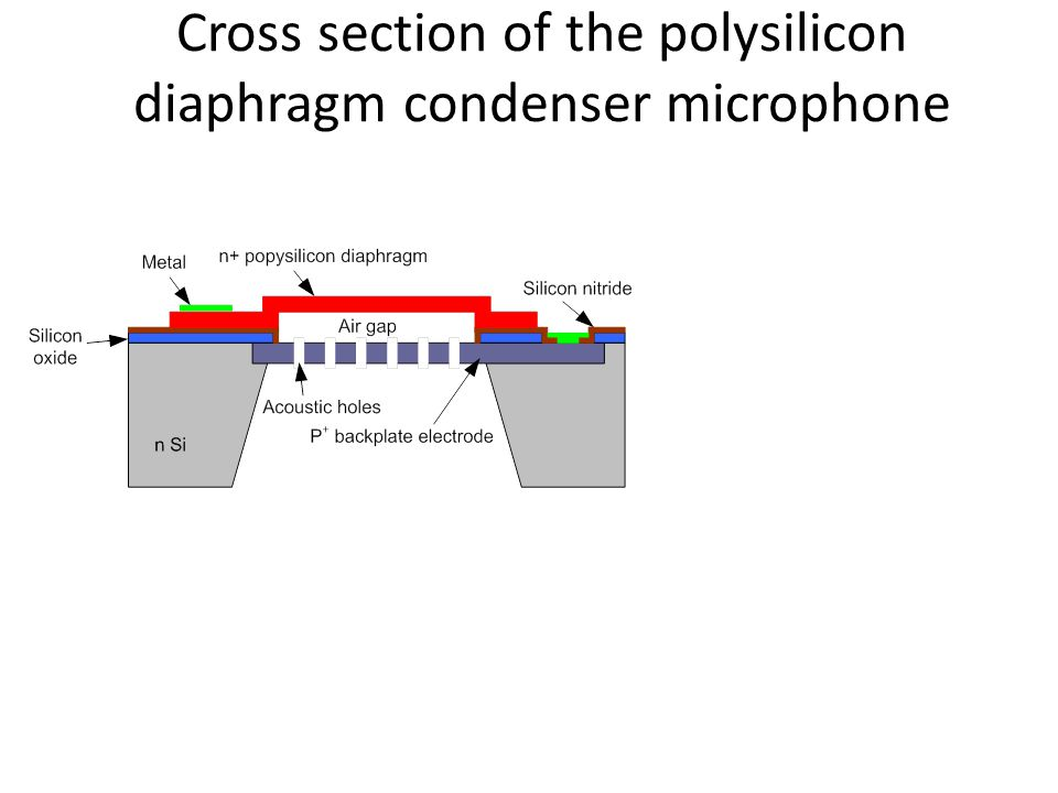 Cross section of the polysilicon diaphragm condenser microphone