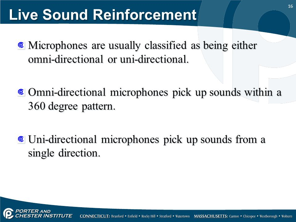 16 Live Sound Reinforcement Microphones are usually classified as being either omni-directional or uni-directional.