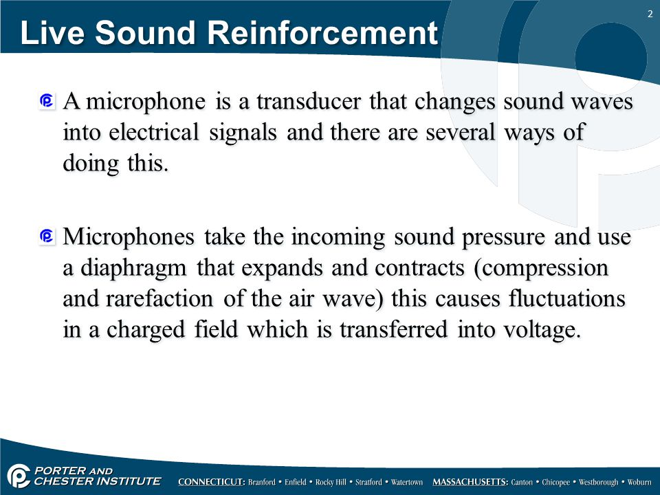 2 Live Sound Reinforcement A microphone is a transducer that changes sound waves into electrical signals and there are several ways of doing this.