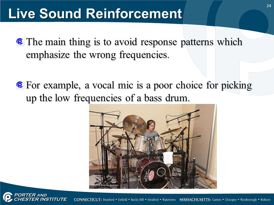 24 Live Sound Reinforcement The main thing is to avoid response patterns which emphasize the wrong frequencies.