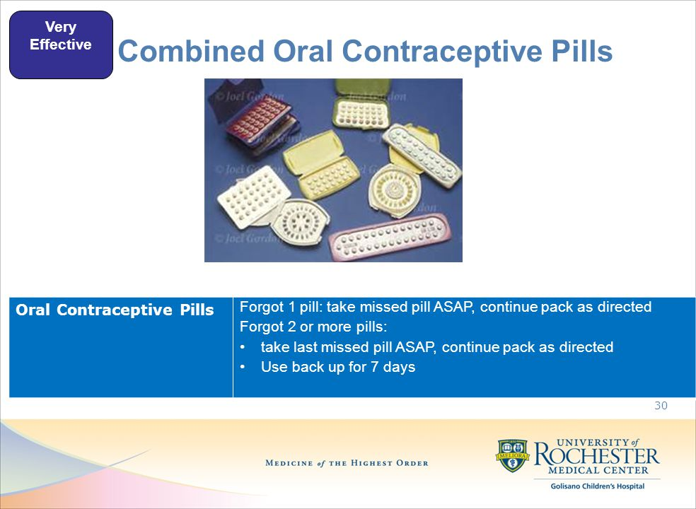 Combined Oral Contraceptive Pills 30 Very Effective Oral Contraceptive Pills Forgot 1 pill: take missed pill ASAP, continue pack as directed Forgot 2 or more pills: take last missed pill ASAP, continue pack as directed Use back up for 7 days