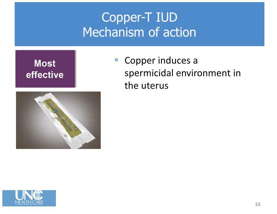 Copper-T IUD Mechanism of action  Copper induces a spermicidal environment in the uterus 23