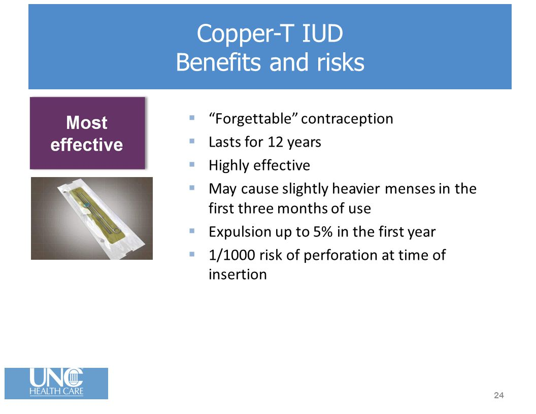 Copper-T IUD Benefits and risks  Forgettable contraception  Lasts for 12 years  Highly effective  May cause slightly heavier menses in the first three months of use  Expulsion up to 5% in the first year  1/1000 risk of perforation at time of insertion 24