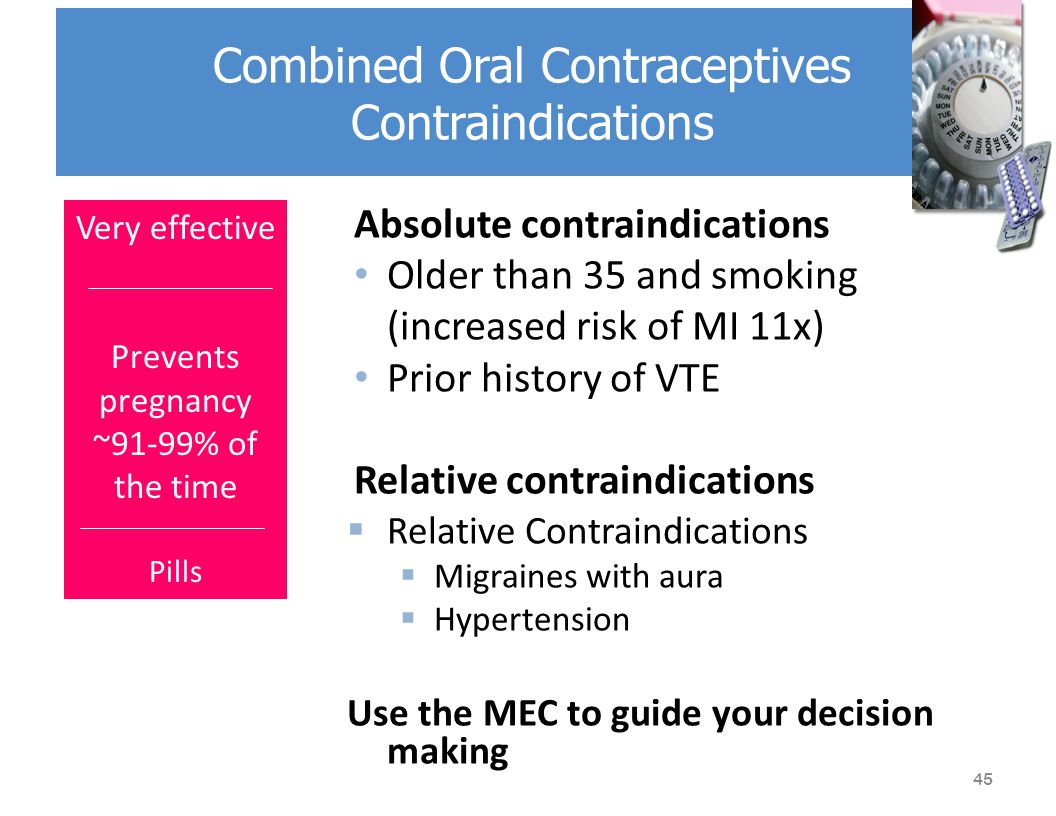 Absolute contraindications Older than 35 and smoking (increased risk of MI 11x) Prior history of VTE Relative contraindications  Relative Contraindications  Migraines with aura  Hypertension Use the MEC to guide your decision making Combined Oral Contraceptives Contraindications Very effective Prevents pregnancy ~91-99% of the time Pills 45