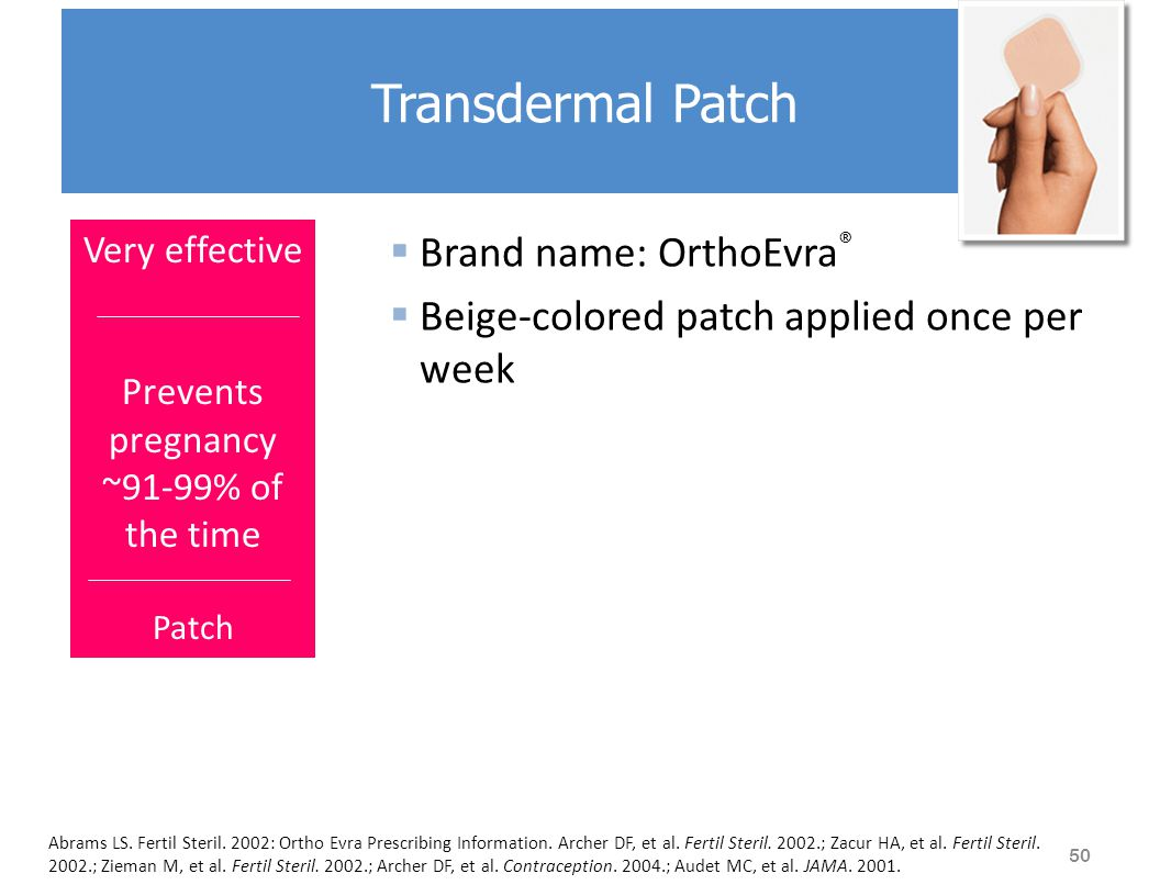  Brand name: OrthoEvra ®  Beige-colored patch applied once per week Abrams LS.