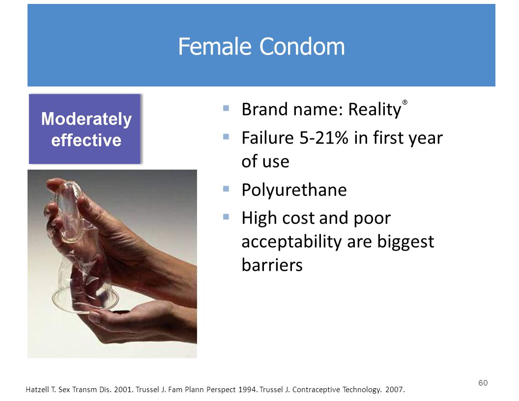 Female Condom  Brand name: Reality ®  Failure 5-21% in first year of use  Polyurethane  High cost and poor acceptability are biggest barriers Hatzell T.