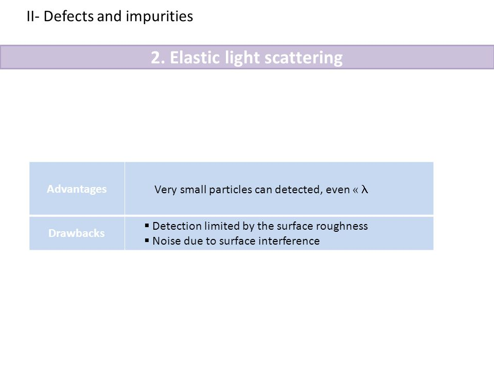 2. Elastic light scattering II- Defects and impurities Advantages Very small particles can detected, even « Drawbacks  Detection limited by the surfa