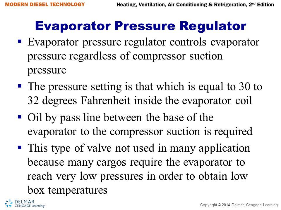 Copyright © 2014 Delmar, Cengage Learning Evaporator Pressure Regulator  Evaporator pressure regulator controls evaporator pressure regardless of com